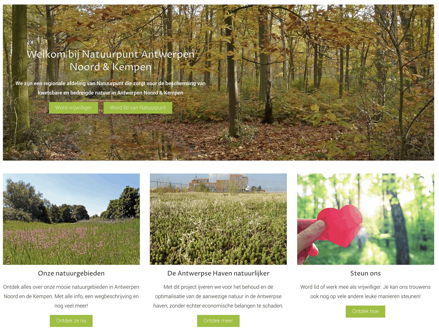Nieuwe website voor Natuurpunt Antwerpen Noord en Kempen
